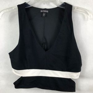 Express Small Black & White Cut Out Crop Top